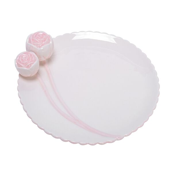 Dolomite Cake Stand With Flower Pink image number 1