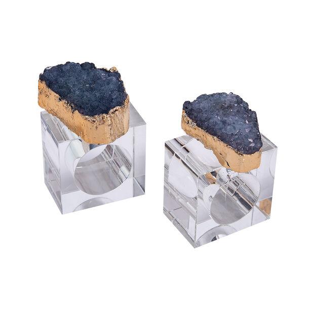 2 Pcs Glass Napkin Ring Colored Stone Finish Blue image number 0