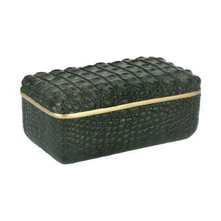 Faux Croc Skin Texture Decorative Box Green 24.3*13*10 Cm