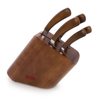Alberto Rubber Wood Knife Block With 5 Wood Knives Set