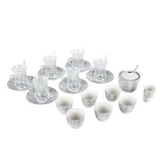 Zukhroof 28 Pieces Porcelain Tea And Coffee Set Danteel Silver Serve 6
