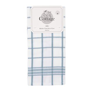 Cottage  2 Pieces Kitchen Towel Set L- 50 * W- 30Cm - Summer Sea Design - Blue Color