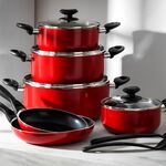 Betty Crocker 12Pcs Non Stick Cookware Set With Glass Lid image number 4