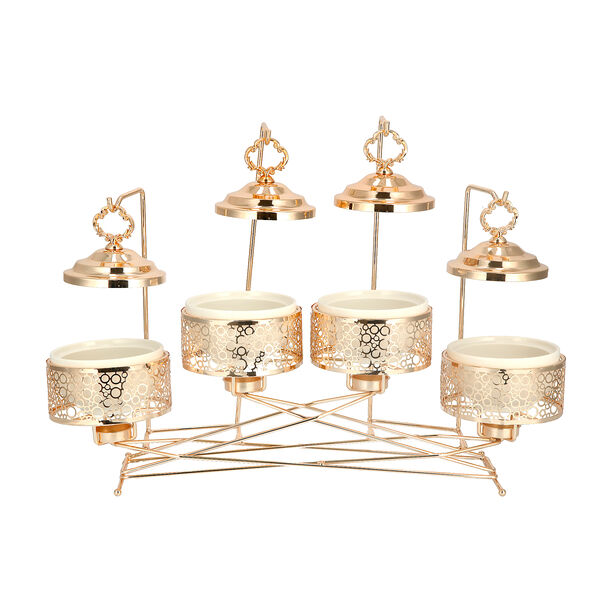 """4 pieces Round Food Warmer Set With Candle Stand Gold 5"""" image number 1"""