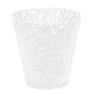 Plastic Waste Bin Alphabet White
