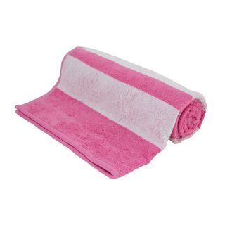 Bath Towel With Stripes Cotton Pink