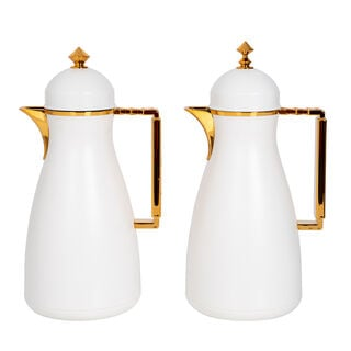 Dallaty 2 Pieces Plastic Vacuum Flask Koufa White & Gold 1L