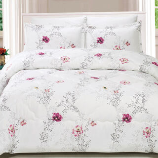 Cottage 5 Pieces Microfiber Comforter Set Noida Printed Pillow Shams King Size 250×235 Cm