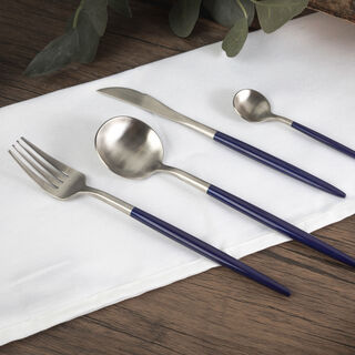 Rio 16 Pieces Modern Cutlery Set Silver And Blue Handle