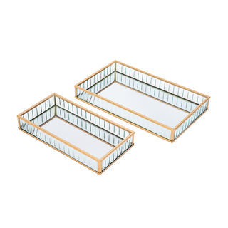 2 Pieces Glass Decorative Tray