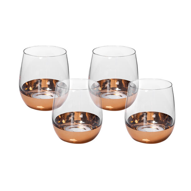 Glass Tumblers Bottom Plating Gold Set of 4 image number 1