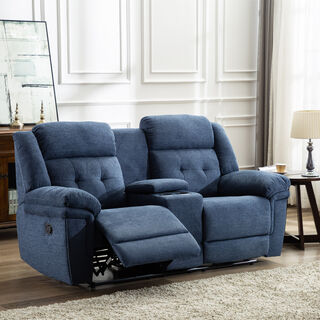 2 Seater Recliner Armchair Navy Linen