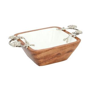 La Mesa 1 Piece Wood Square Nuts Bowl Metal Floral Silver