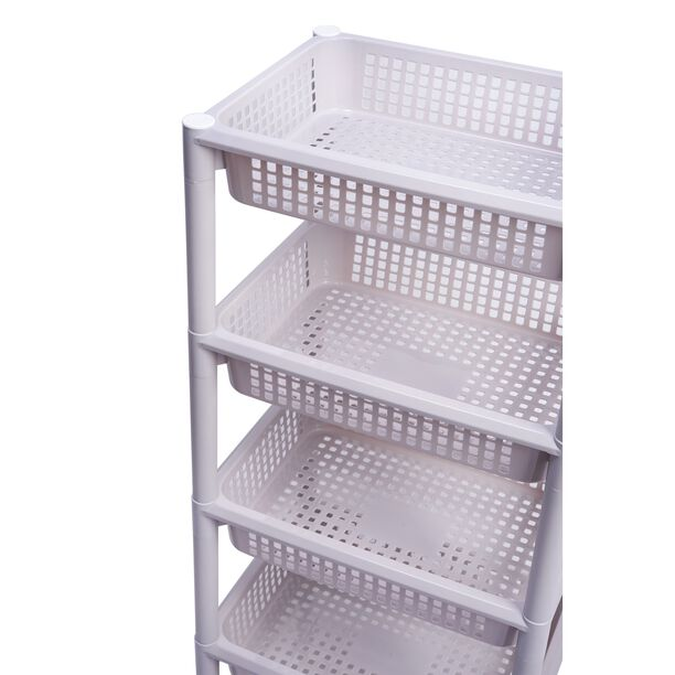 Kitchen Trolley Plastic 4 Layer With Wheels Silver Color image number 2