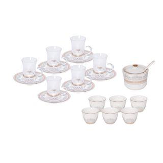 طقم شاي و قهوة عربي 20 قطعة لون أبيض