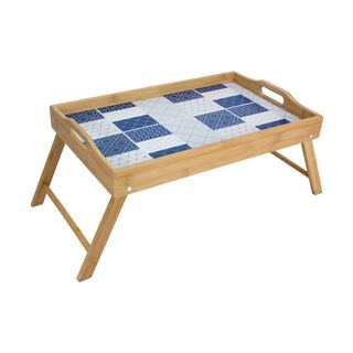 Alberto Bamboo Bed Tray With Blue Printed Pattren