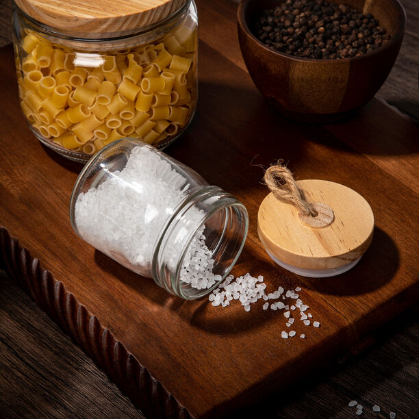 Alberto Mini Glass Jar With Wooden Lid And Hemp Rope image number 2
