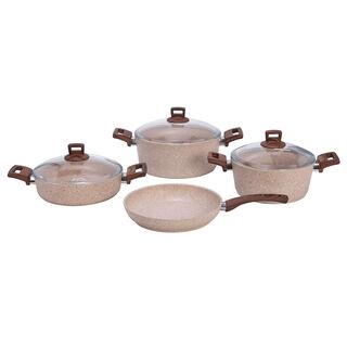 Alberto Granite Series 7 Pieces Cookware Set Wood Stone