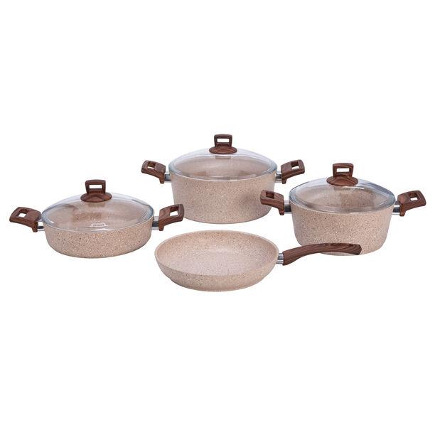 Alberto Granite Series 7 Pieces Cookware Set Wood Stone image number 0