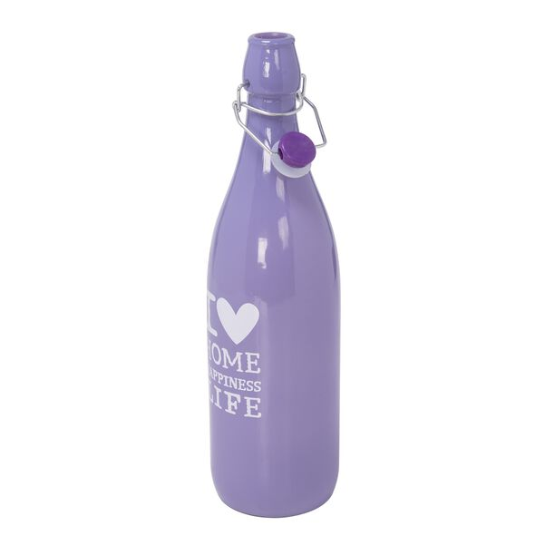 Alberto Glass Bottle Color Painted With Plastic Clip Lid Purple image number 1