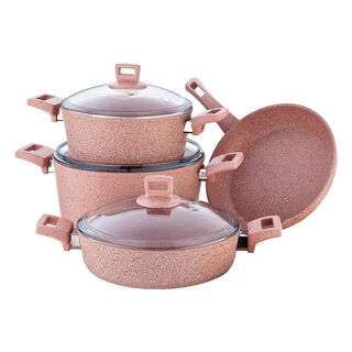 Alberto Granite Series 7Pcs Cookware Set Pink Stone
