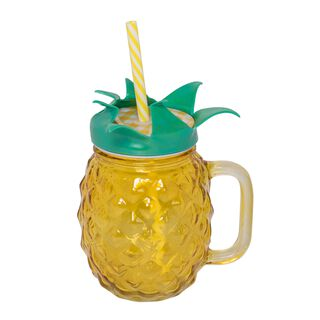 Glass Jar 450Ml With Straw Pineapple Shape Colored Body