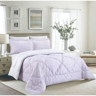 Cottage 3 Pieces Comforter Set Twin Size Camlica Purple