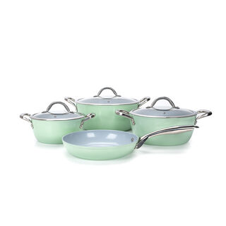 7Pcs Forged Cookware Set With Ceramic Coating Inside Green