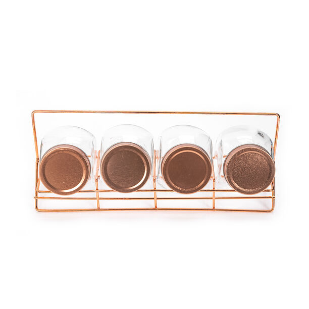 Alberto 4 Pieces Glass Spice Jars With Copper Clip Lid And Metal Stand image number 1