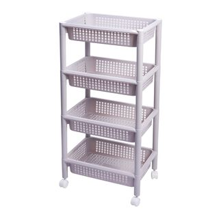 Kitchen Trolley Plastic 4 Layer With Wheels Silver Color