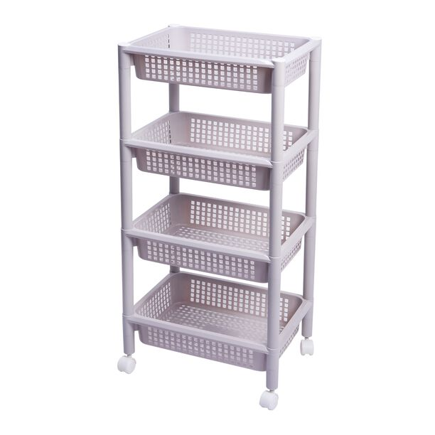 Kitchen Trolley Plastic 4 Layer With Wheels Silver Color image number 0