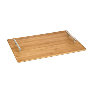 Acacia Wood Serving Tray with Steel Handles