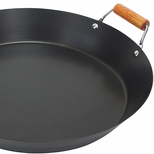 Non Stick Wok Pan With Wood Handle Round Shape Black image number 1