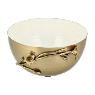 Bowl Sml White&Satin Gold