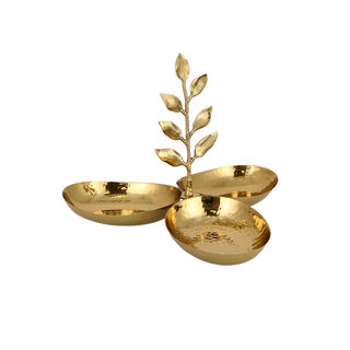ARABESUE TRIPPLE OVAL BOWL CONDIMENT SET WITH EVERGREEN LEAF LARGE