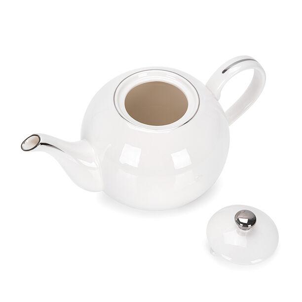 English Tea Pot White Silver Rim image number 2