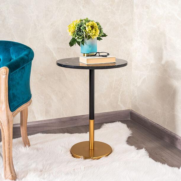 Side Table Gold Base Black Marble Top image number 0