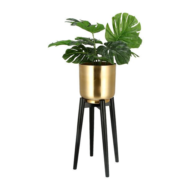 Planter Gold With Wood Stand Gold image number 1