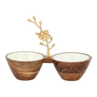 La Mesa 2 Parts Wood Circular Nuts Bowl Metal Floral Gold