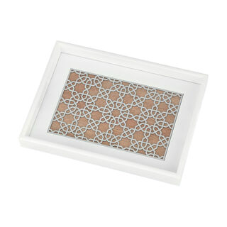 Wood Tray Pp 1Pc White Silver