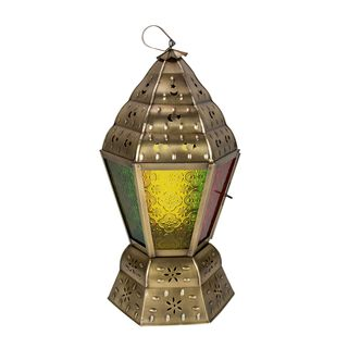 Egypytian Lantern Metal And Glass Colored