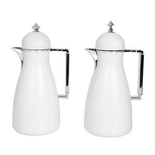 Dallaty 2 Pieces Plastic Vacuum Flask Koufa White & Silver 1L