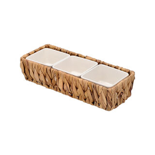 3Pcs Porcelain Square Dish With Rattan Basket