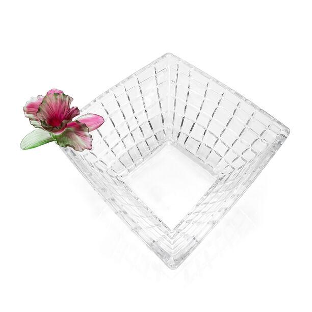 La Mesa Glass Bowl With Pink Crystal Flower 31Cm image number 1