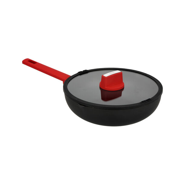 Deep Fry Pan with Glass Lid & Soft Touch Handle image number 0