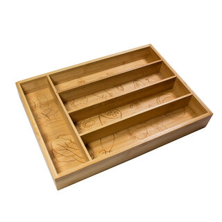 صندوق خشبي مقسّم لحفظ ادوات المائدة من البرتو