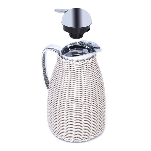 Dallaty Stainless Steel Vacuum Flask Rattan With Design Of Bamboo Grey 1L image number 2