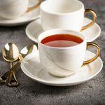 La Mesa Marble Tea Cup & Saucer Set 12 Pieces Gold image number 2