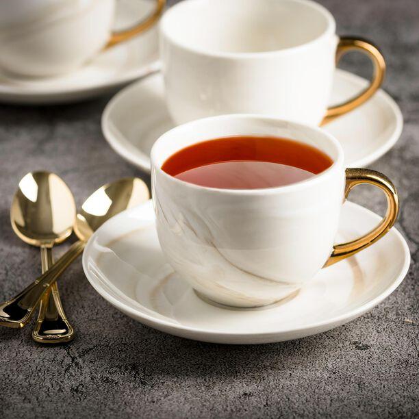 طقم أكواب شاي مع صحون 12 قطعة رخام ذهبي من لاميسا image number 2