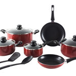 Alberto Non Stick Cookware Set 12 Pieces Red Color image number 1